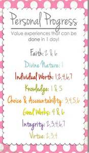 LDS Young Women Personal Progress Ideas