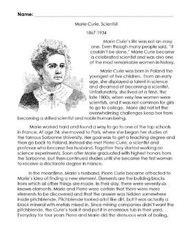 biography bank marie curie scientist   reading