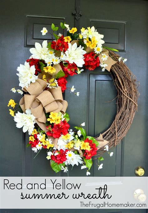 summer door wreaths and yellow summer wreath with a burlap bow