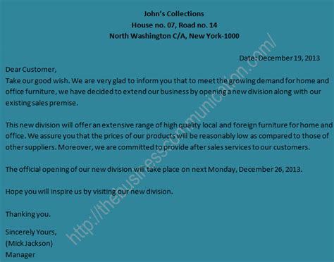 sample  circular letter announcing expansion  existing