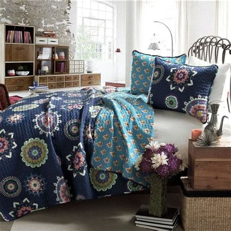 Navy Blue Quilts And Coverlets by Navy Blue Paisley Geometric 100 Cotton 3