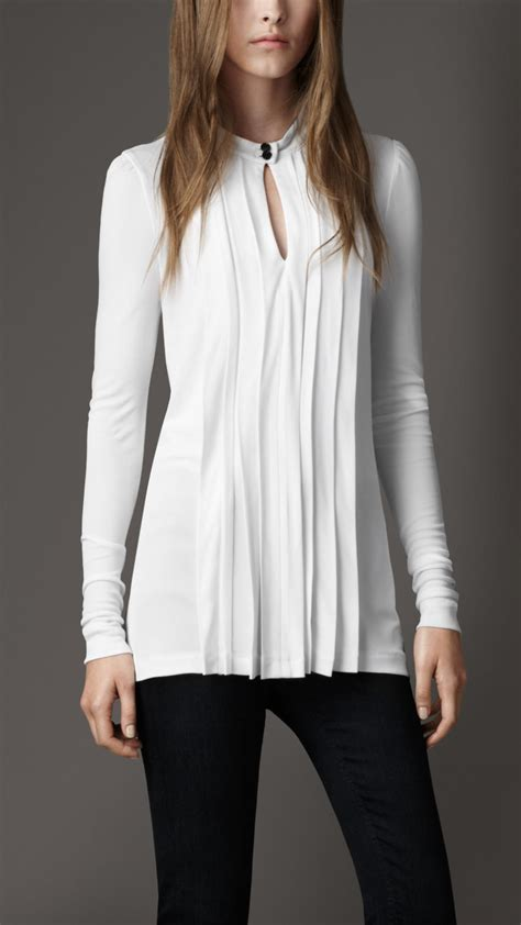 burberry blouse burberry pleated keyhole blouse in white lyst