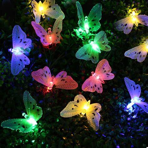 12 led multi color butterfly solar string lights fiber