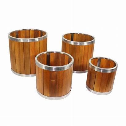 Round Wooden Brown Medium Planter Inch Steel