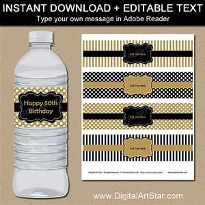 golden birthday water bottle labels printable golden With 50th anniversary water bottle labels