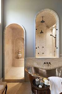 Mosaic Tile Arch Doorway Bathroom Traditional With Cararra