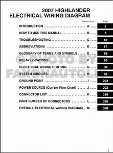 2006 Toyota Highlander Wiring Diagram Original