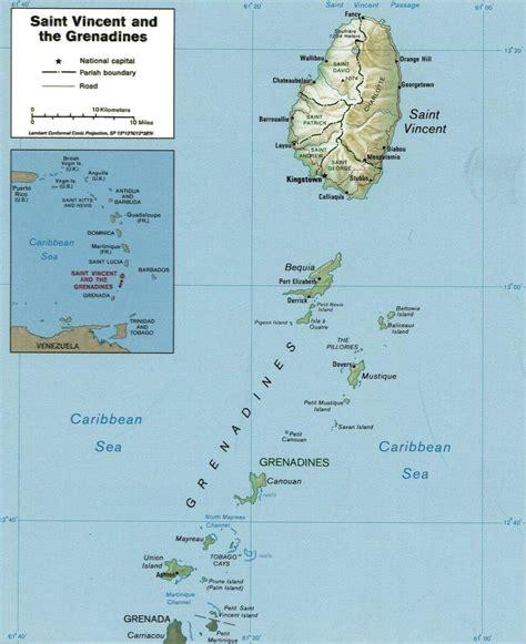 Carte de Saint-Vincent et les Grenadines.