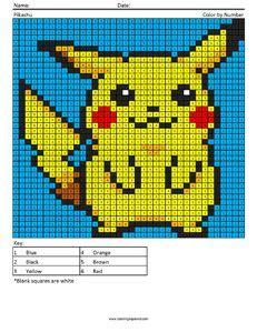 megapixel coloring graph paper art pikachu drawing