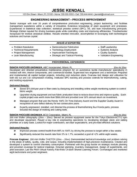 process engineer resume sle exle process engineer resume sle
