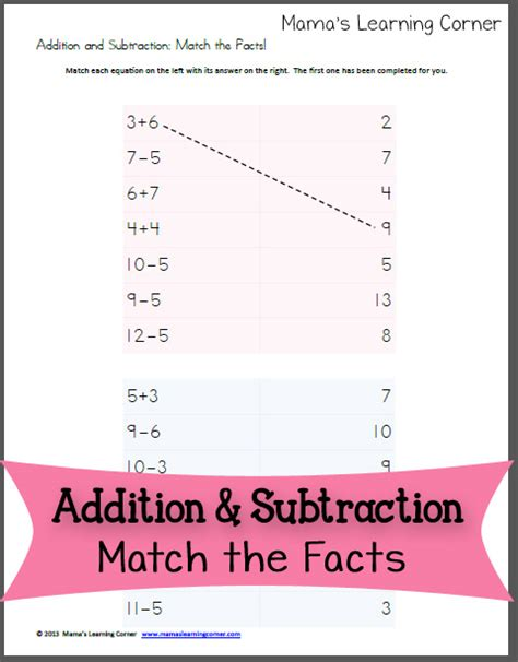 addition  subtraction match  facts mamas