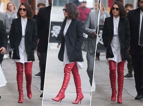 mila kunis comment porter les cuissardes rouges avec classe