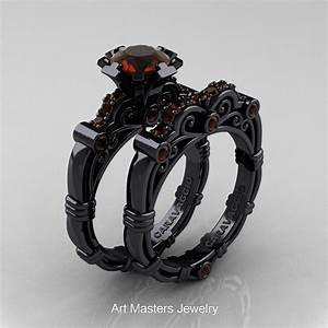 art masters caravaggio 14k black gold 10 ct brown diamond With black and gold wedding rings