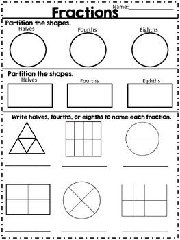 Fractions Halves Fourths & Eighths By The Aspiring Teacher Tpt