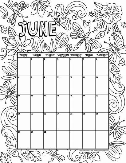 Coloring Calendar Printable Pages June 2021 January