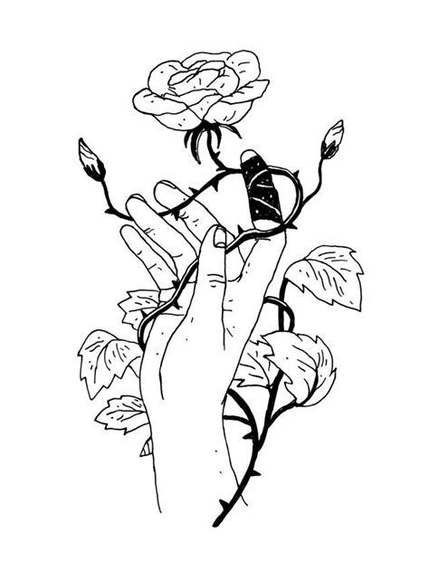 Mão Rosa Espinhos Preto e branco Desenho Arte Rosa