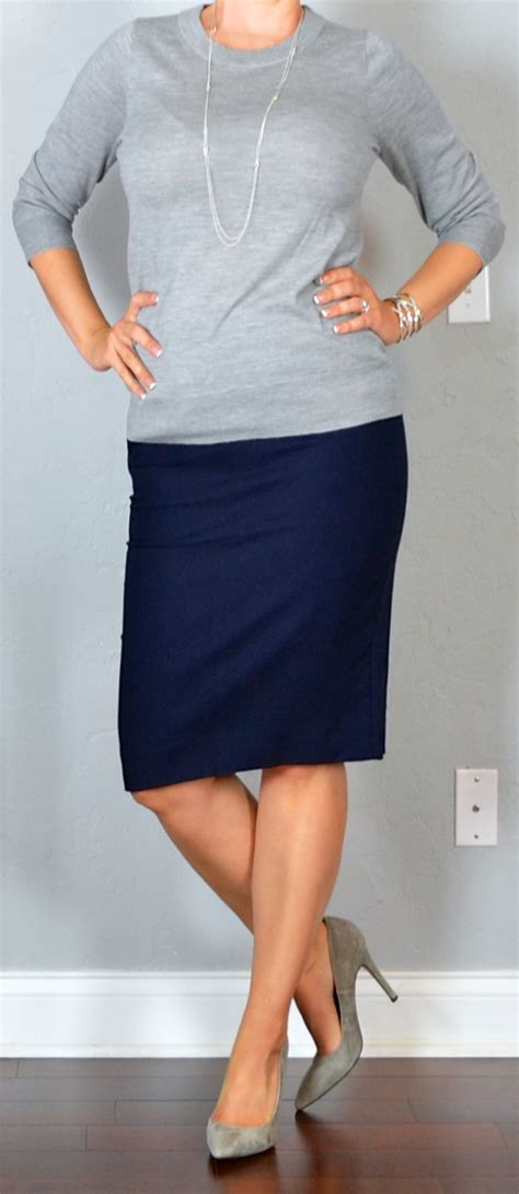 Outfit post grey sweater navy pencil skirt grey pumps silver station necklace