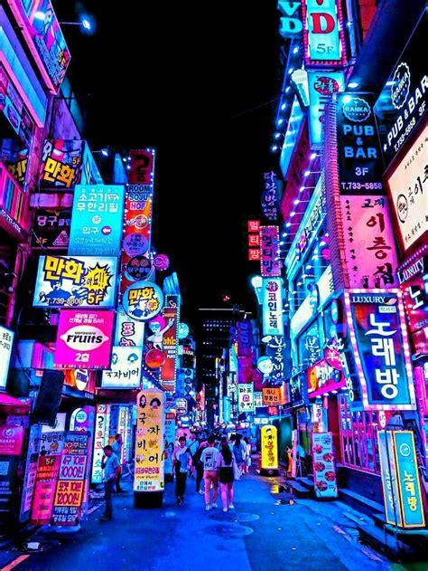 seoul lights city wallpaper aesthetic japan