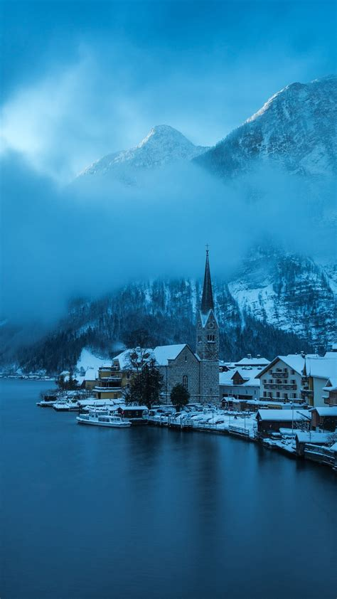 wallpaper hallstatt austria winter snow lake