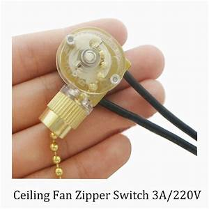 Lamp zipper switch ceiling fan wire single