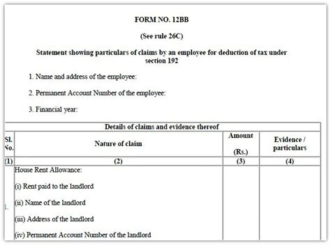 Income Tax Form For Salaried Employee by Form 12bb To Claim Hra Deduction By Salaried Employees