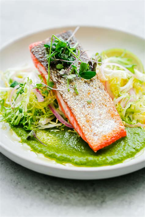 seared sockeye salmon  green chile adobo sauce