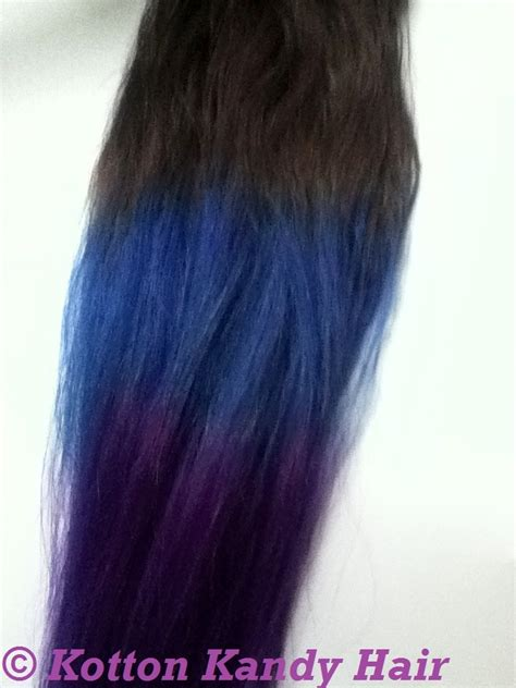Dark Brown Royal Blue And Purple Dip Dye