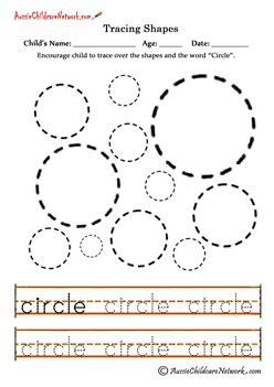 Trace Shape Circles  Kindergarten Ideas  Tracing Shapes, Shapes, Shapes Worksheets
