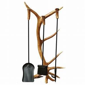Antler Fireplace Tool Set 4 Pcs