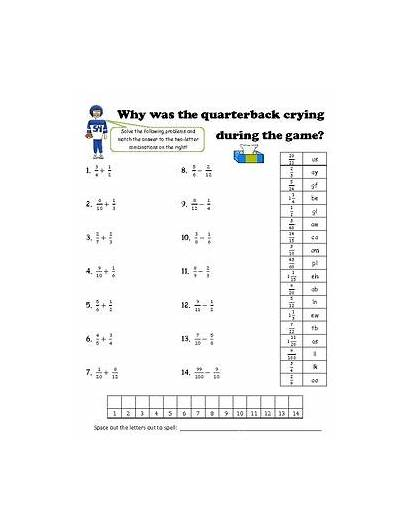 Math Fractions Riddle Unlike Denominators Solve Fun