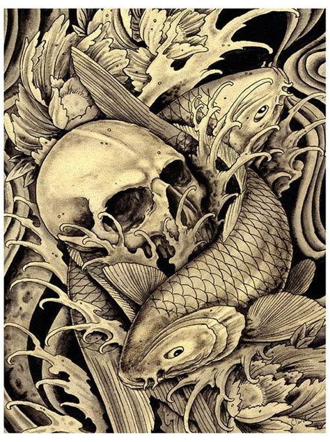 koi skull  clark north tattoo art print asian japanese fish traditional ebay