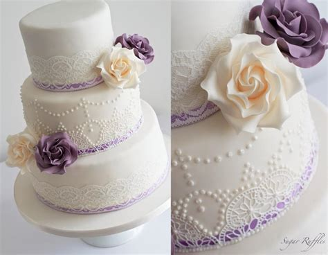 Ivory And Purple Wedding Cake- Vintage Lace & Pearl Piping