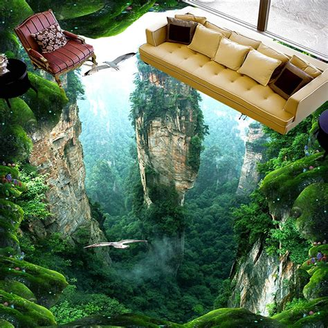 custom  mural floor wallpaper cliff scenery pvc wear