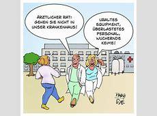 Kranke Häuser Warnung vor dem Klinikum Karikatur von