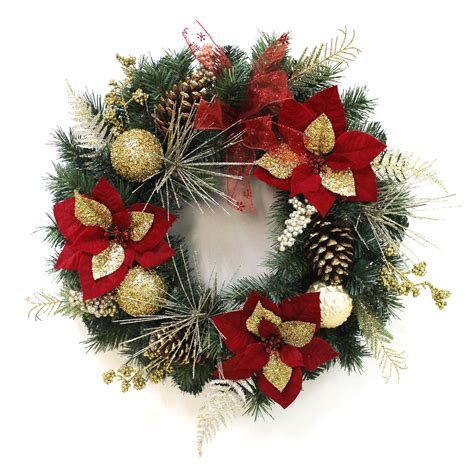 24 quot decorated christmas wreath poinsettia baubles
