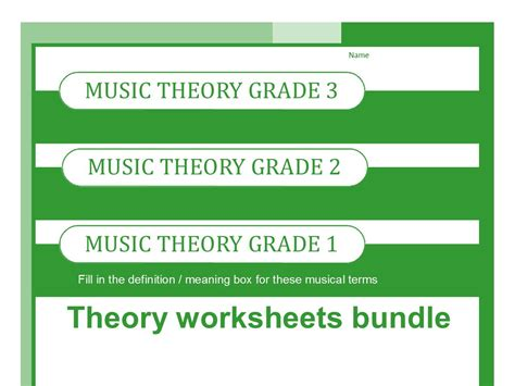 theory worksheets for grades one two and three by
