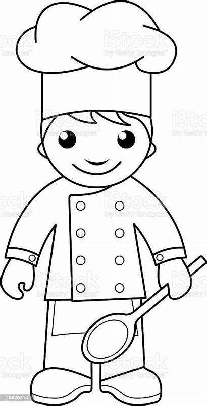 Coloring Cook Chef Pages Cooking Colouring Para