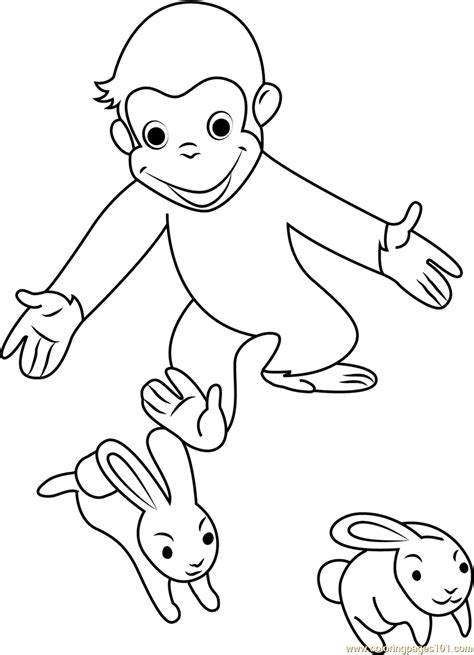 curious george playing  rabbit coloring page
