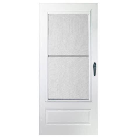 emco screen door emco 30 in x 78 in 100 series plus white self storing