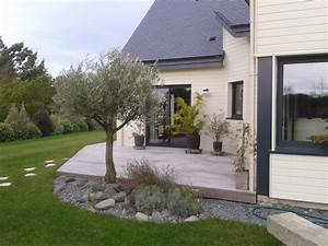 Cacher Vis A Vis : terrasse en bois avec cl ture pour masquer le vis vis plouezec ~ Melissatoandfro.com Idées de Décoration