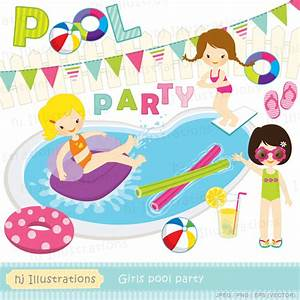 HJ Illustrations: Girls pool party digital clipart ...