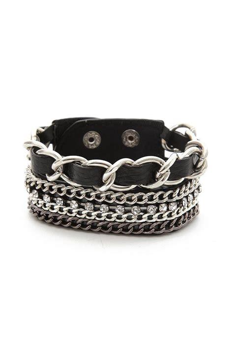 hot topic black chain strap bracelet chains faux leather
