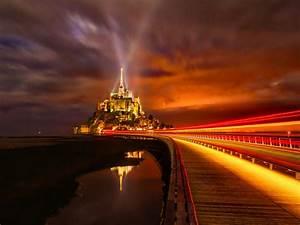 Mont, Saint, Michel, 4k, Wallpaper, France, Cathedral
