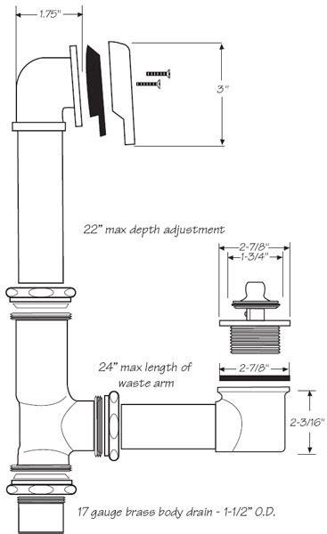 bathtub waste  overflow drain kits   size bathtub