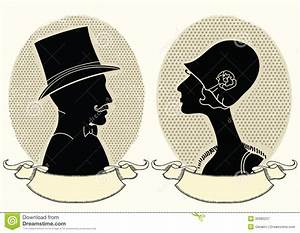 Man And Woman Portraits.Vector Vintage Image Stock Vector ...