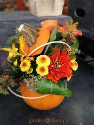 DIY Pumpkin Flower Arrangement