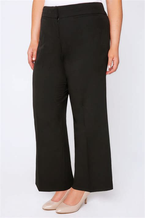 trousers wide leg stab stitch detail plus jersey bottoms smart above load zoom