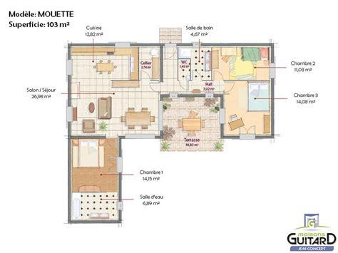 plan maison 100m2 plein pied 3 chambres maison de plain pied avec tour centrale modèle mouette j