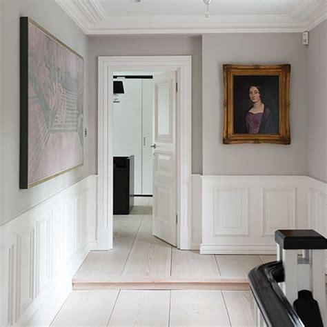 Pale grey panelled hallway Decorating housetohome co uk