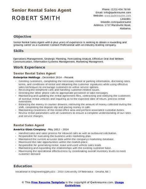 Rental Resume by Rental Sales Resume Sles Qwikresume